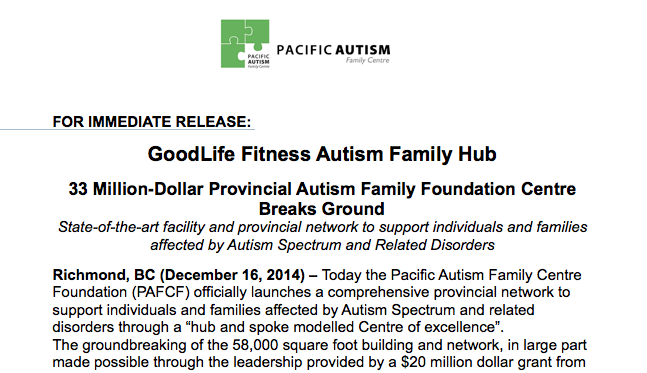 GoodLife Fitness Autism Family Hub
